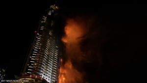 فندق العنوان الذي شب فيه الحريق يقع بجوار برج خليفة.