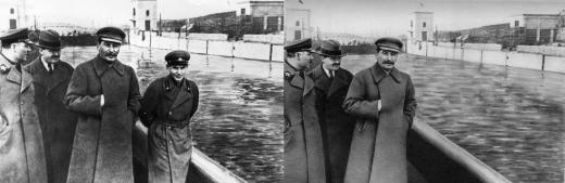 رئيس الشرطة السرية نيكولاي يجوف رفقة ستالين، في الثلاثينات من القرن الماضي.